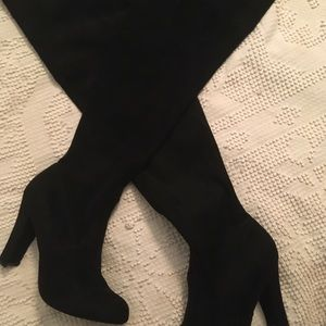 Christian Siriano Black leather knee boots